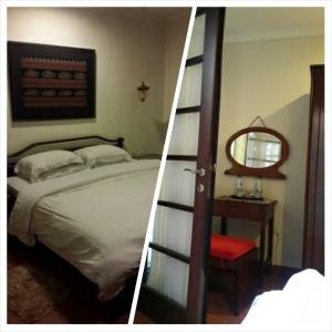 Kamarnya cukup luas, lemari 4  pintunya kelupaan difoto